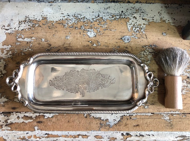 Silver Plated Antiqued Ribbon Tray