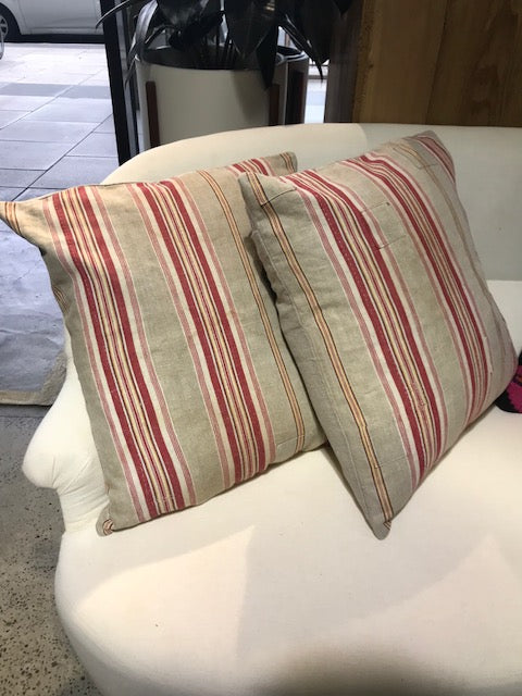 19th Century Linen Ticking Cushion from Paris