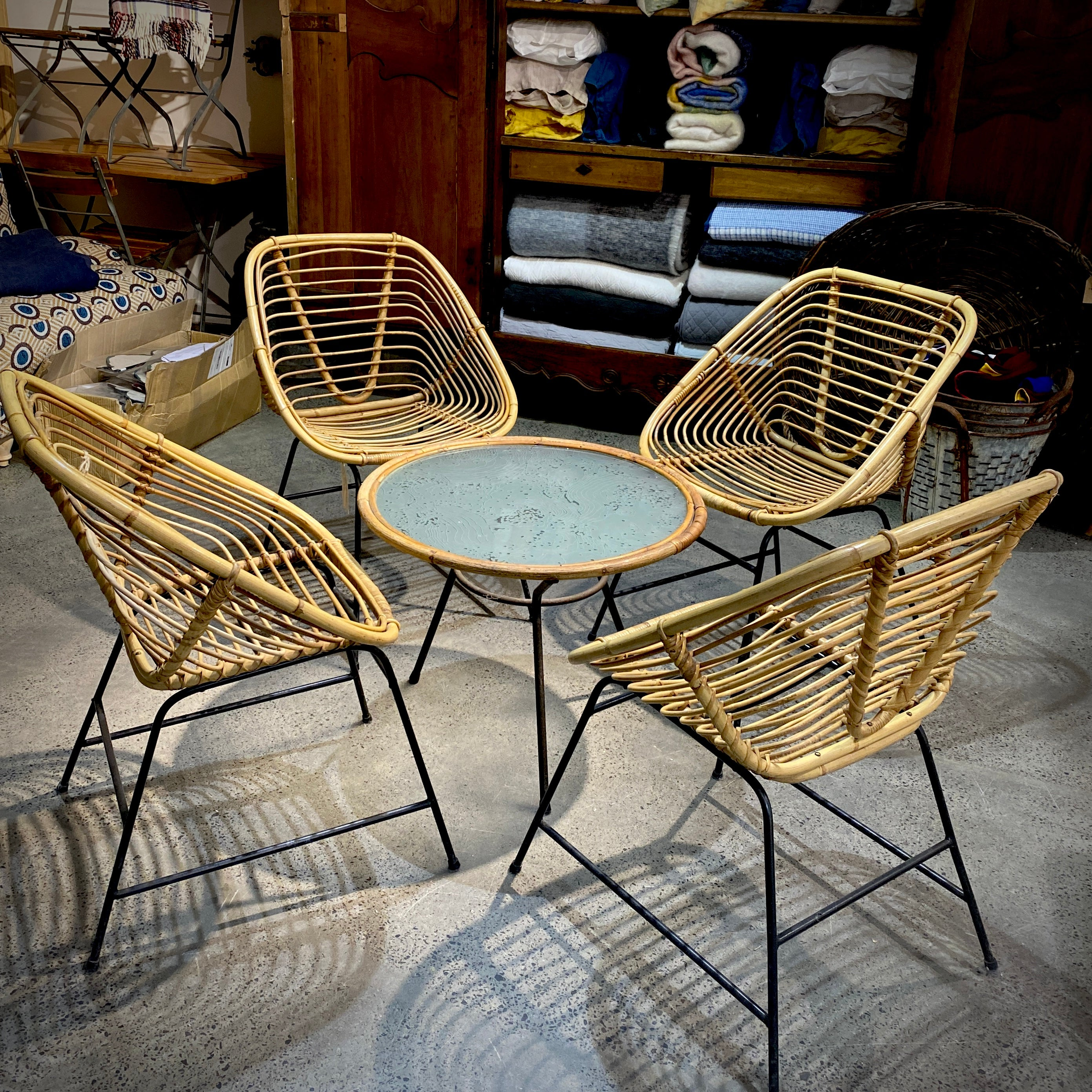Vintage Cane Bamboo Setting - Four Chairs + Table