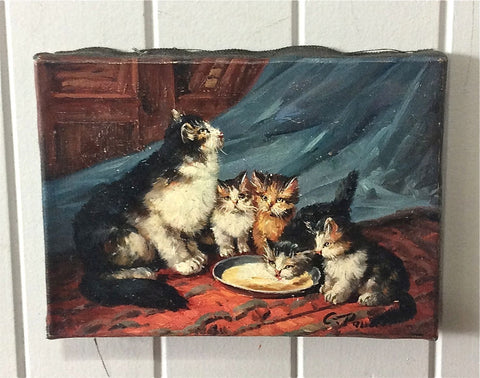 Traditional French Painting - Cat Scene