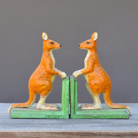 Cast Iron Kangaroo Bookends