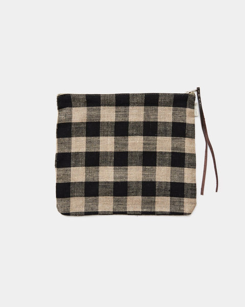 100% Linen Check Pouch by Fog Linen Work Japan