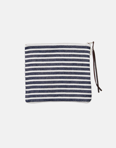 100% Linen Stripe Pouch by Fog Linen Work Japan