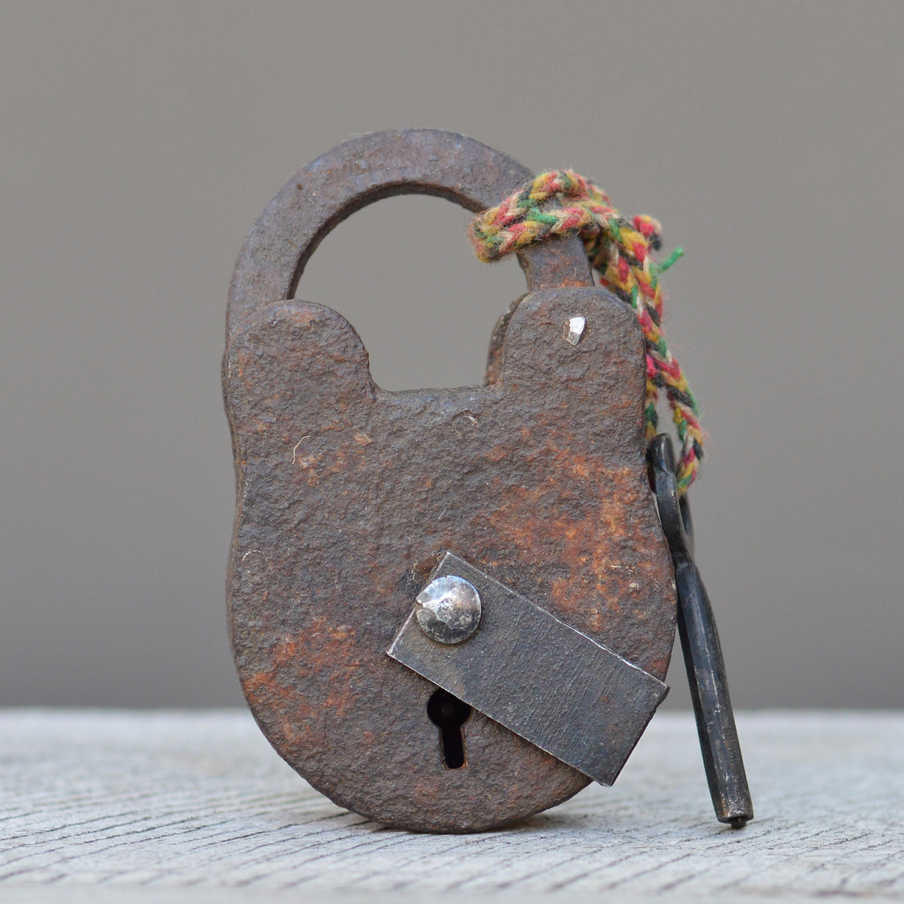 Vintage Forged Metal Box Padlock & Key