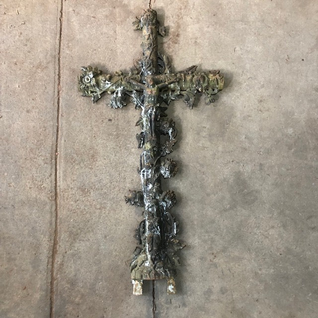Vintage Cast Iron French Crucifix Menerbes