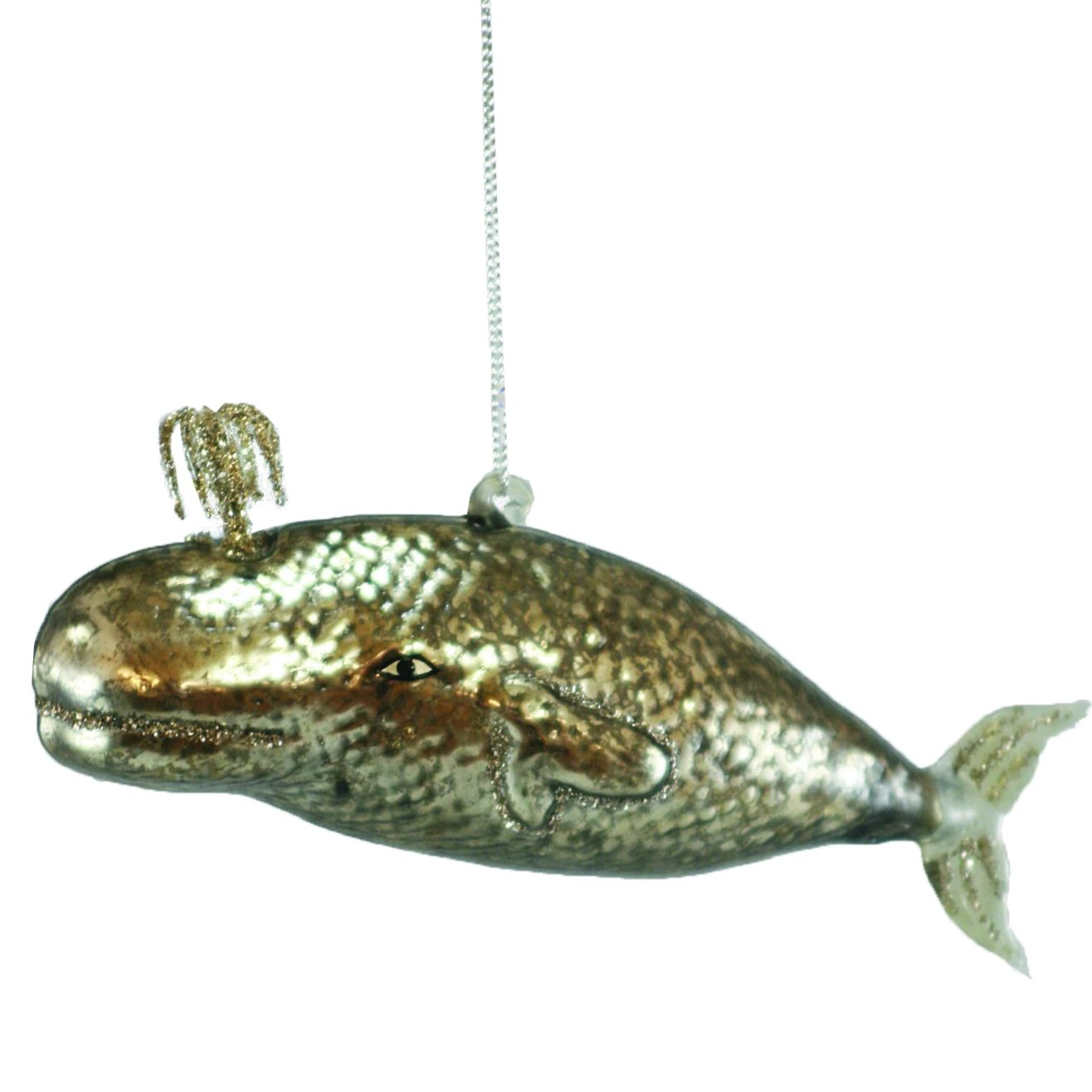 Mercury Glass Silver Whale Ornament