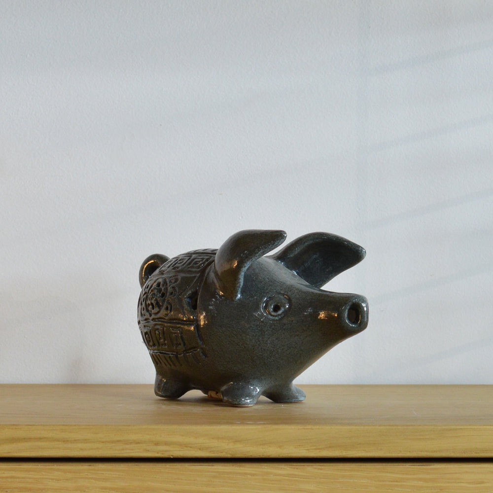 Betty McLaren Ceramic Blue Piggy Bank
