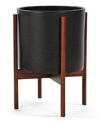 "MODERNICA Black Case Study® Ceramic Cylinder With Wood Stand - Large 10"" size. FREE SHIPPING."