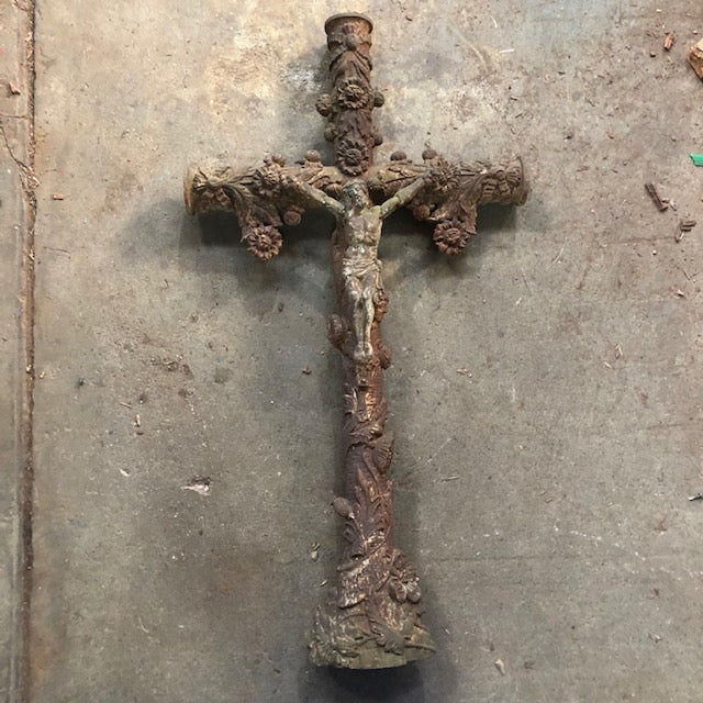 Vintage Cast Iron French Crucifix Roussillon