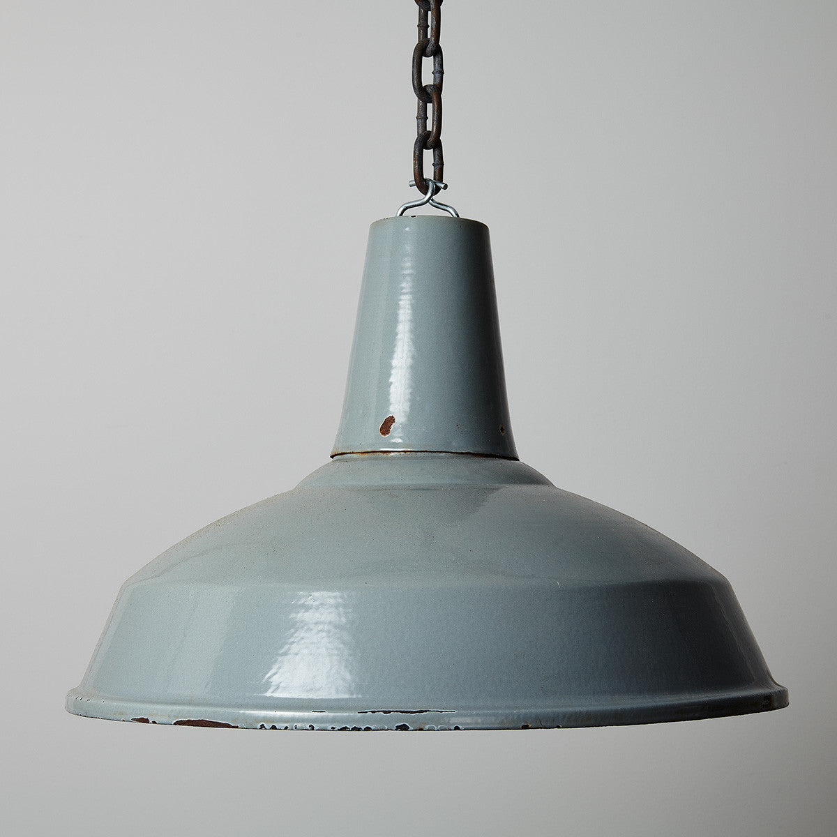 Vintage Grey Steel Enamel Pendant Warehouse Light- 50cm