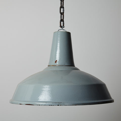 Vintage Grey Steel Enamel Pendant Warehouse Light- 40cm