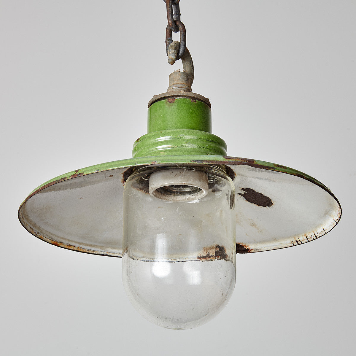 Vintage Enamel Steel Pendant Light