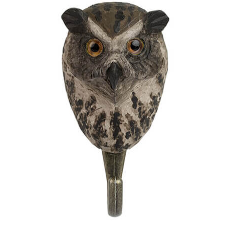 Hand Carved Wooden Wall Hook - Eagle Owl