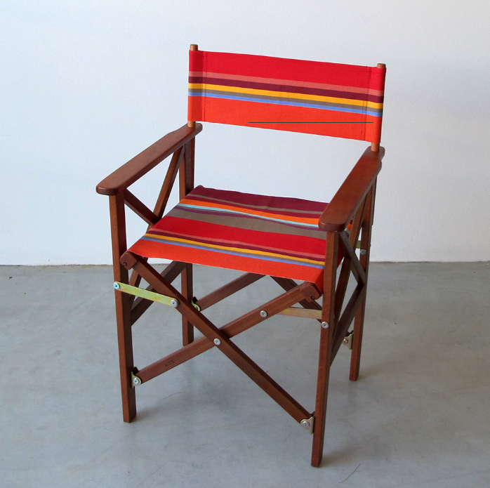 Classic Directors Chair and Footstool in Les Toiles du Soleil - Collioure Rouge
