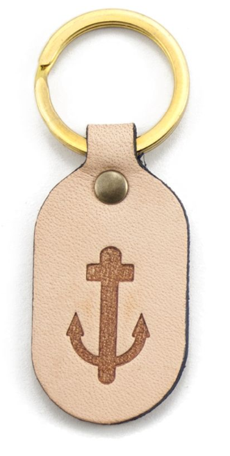 Anchor Embossed Leather Keyring in Tan by Otto Messer
