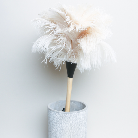 Ostrich Feather Duster- Redecker- LIMITED EDITION WHITE FEATHERS 40cm
