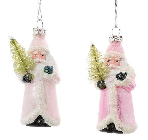 Pair of Pink Mercury Glass Santas