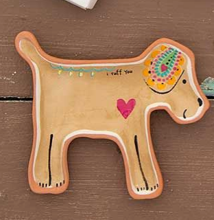 Painted Dog Dish - I ruff you...