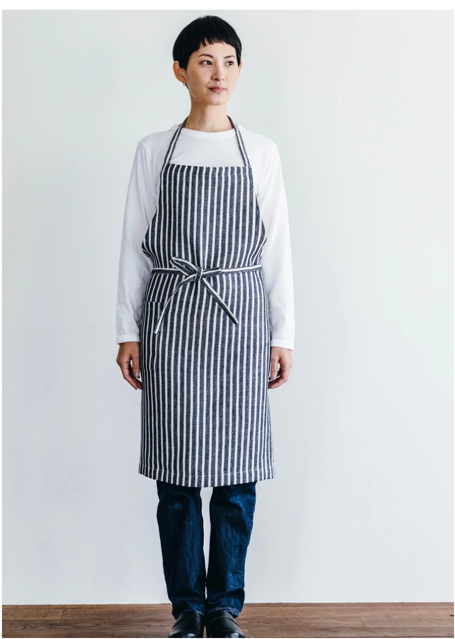 Linen Striped Daily Apron by Fog Linen Work Japan