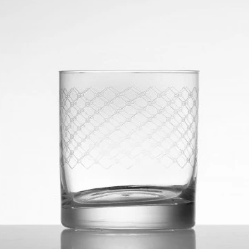Whiskey Glass- European Made- Diamond Patterned