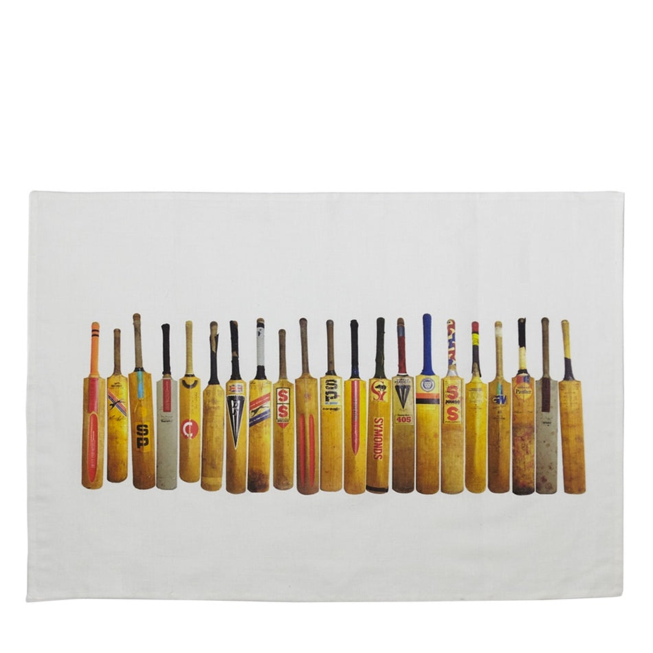Cricket Bat Line Up Linen Tea Towel