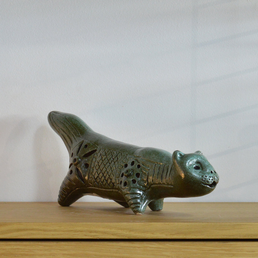 Betty McLaren Ceramic Sea Green Stalking Cat