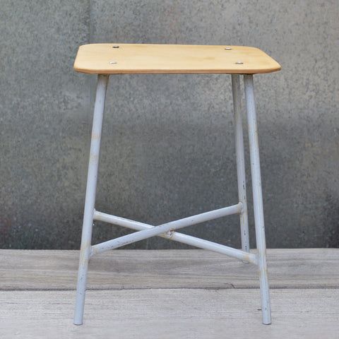 Vintage Ukraine Army Stool with renewed plywood top