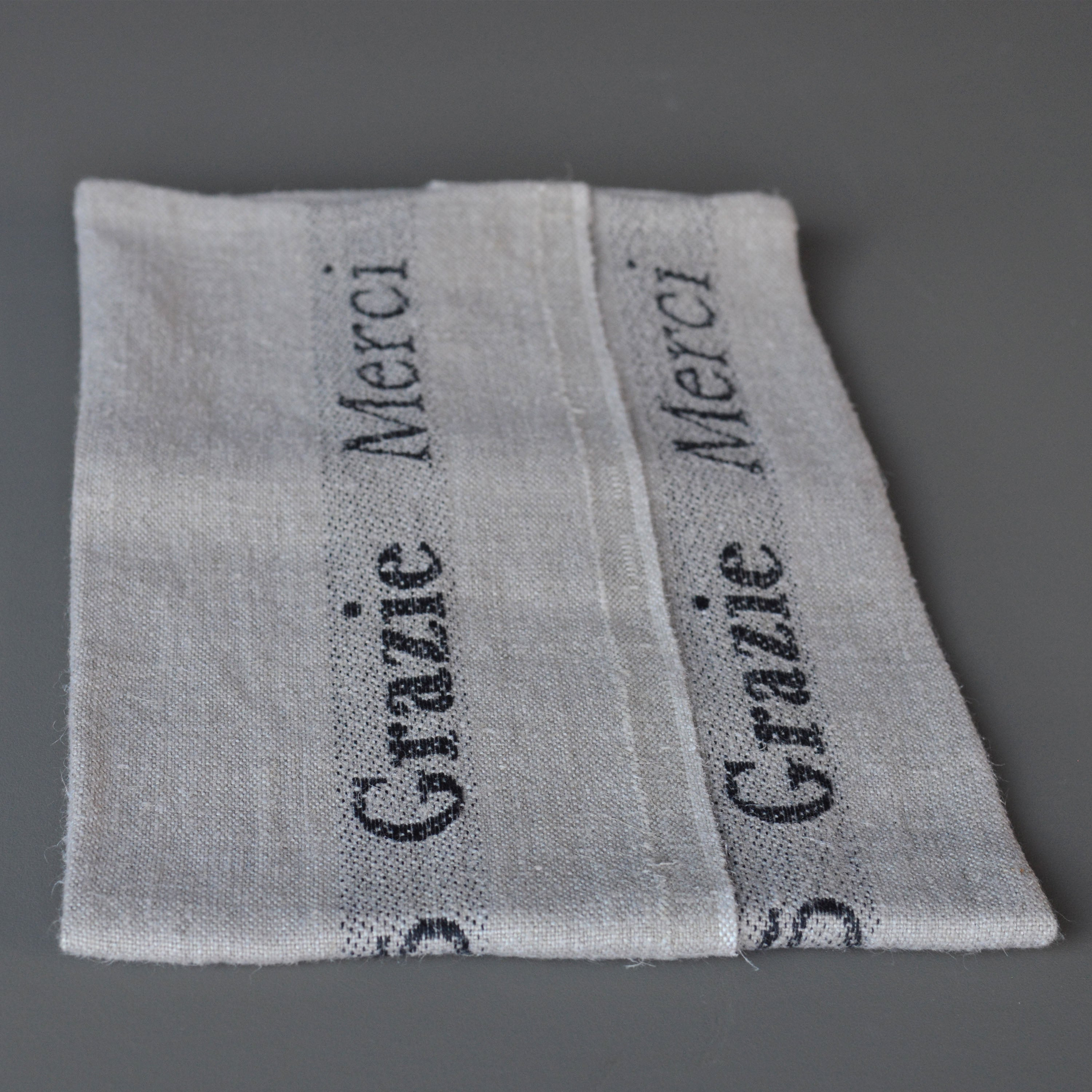 French 100% Linen Tea Towel - MERCI- natural and black Charvet Editions.