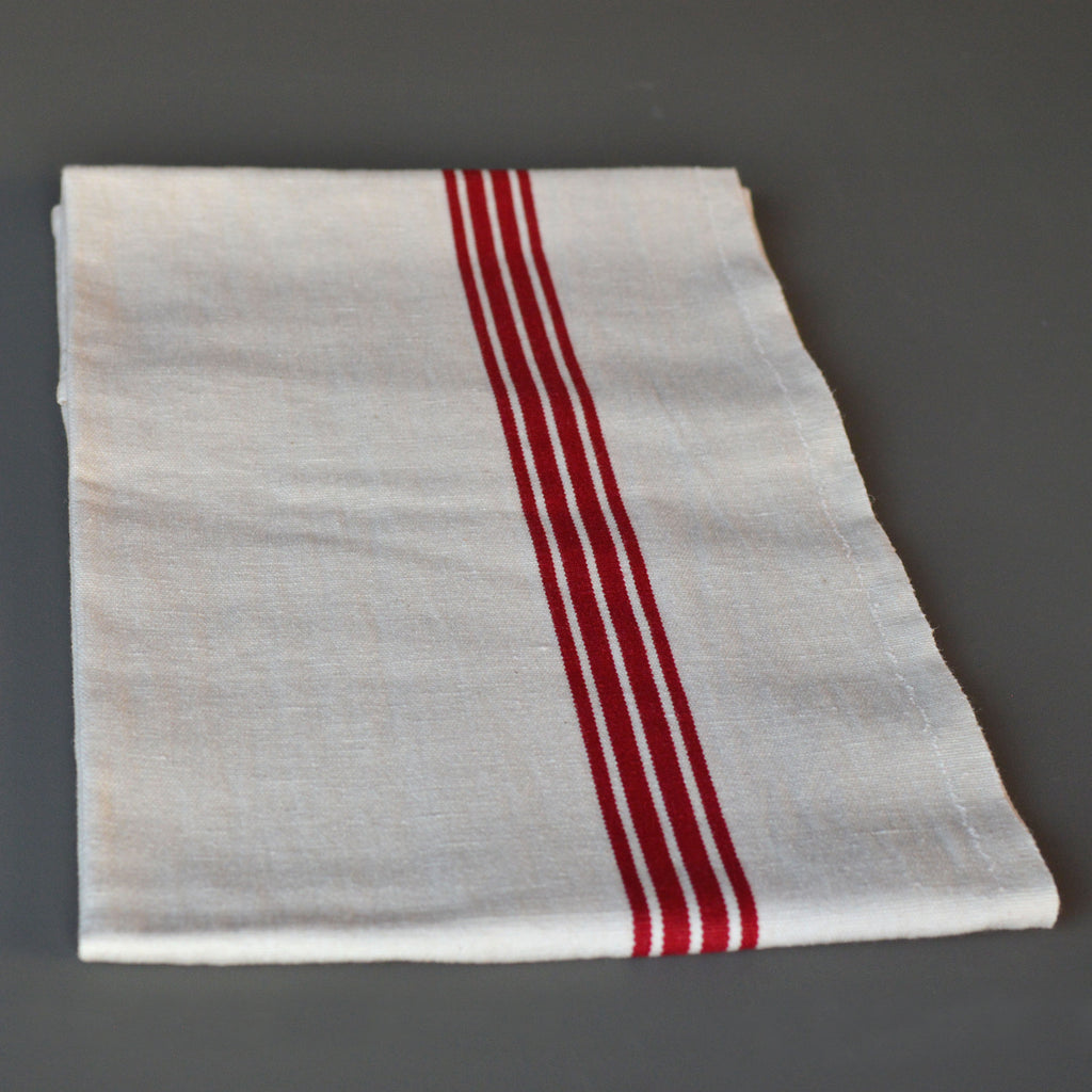 French 100 Linen White With Red Piano Stripes Tea Towel