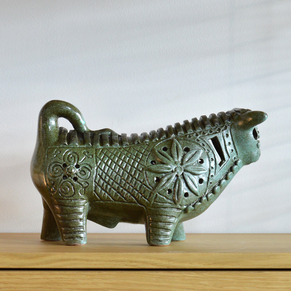 Betty McLaren Ceramic Green Taurean Bull