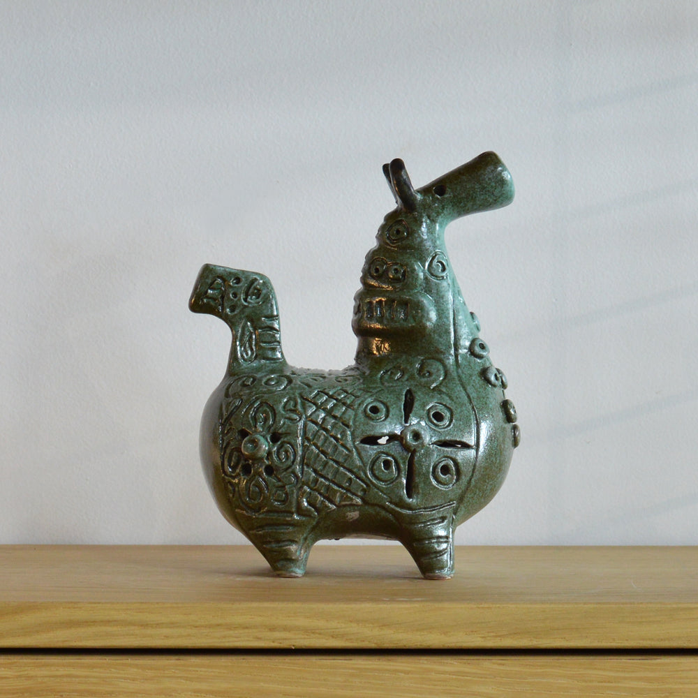 Betty McLaren Ceramic Sea Green Trumpet Horse