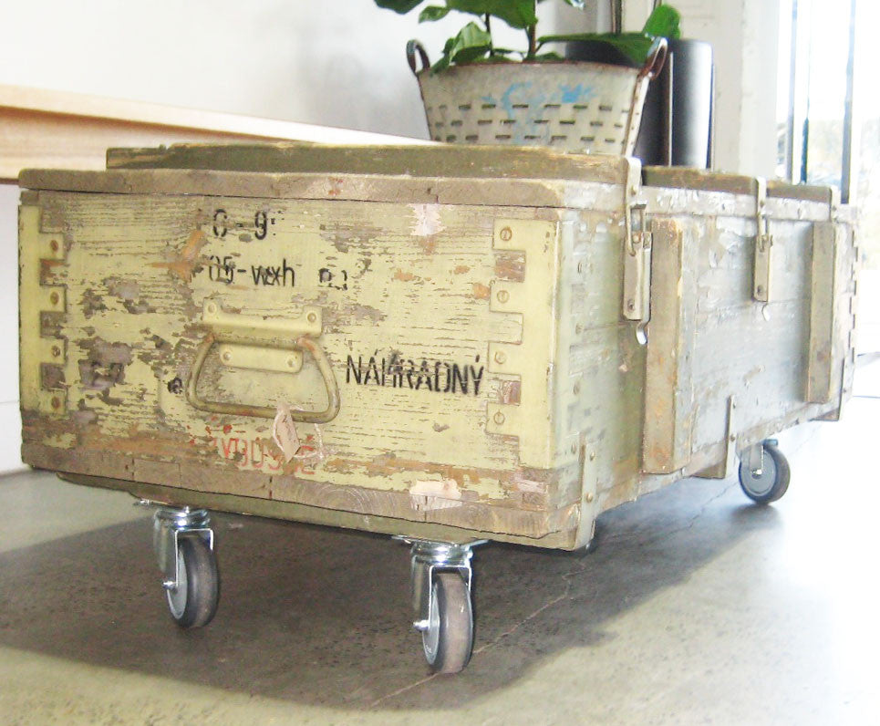 Vintage Army Trunk on castors