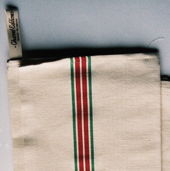 French 100% Linen White with Green & Red Stripes Tea Towel by Charvet Editions