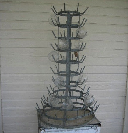 Rare Vintage French Zinc Bottle Drying Rack
