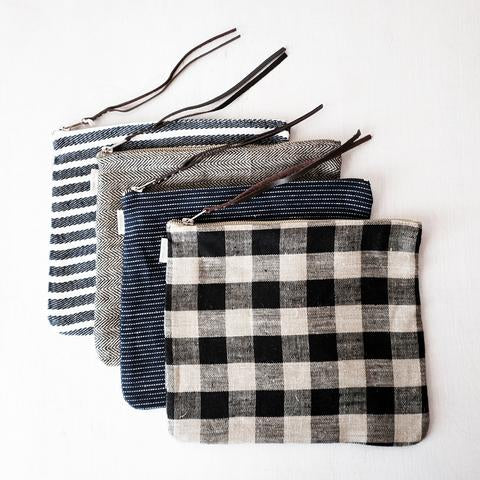 100% Linen Pinstripe Pouch by Fog Linen Work Japan