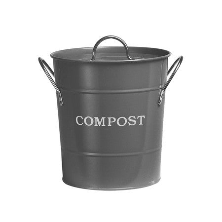 Enamel Compost Bucket - Charcoal