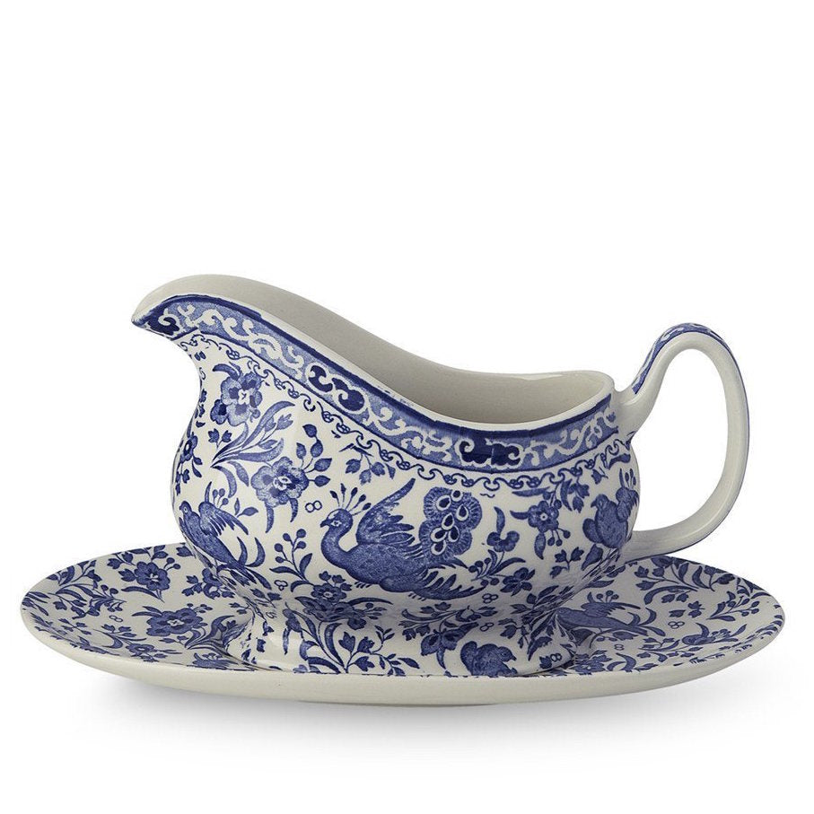 Burleigh UK Blue Regal Peacock- Sauce Boat and Stand Set