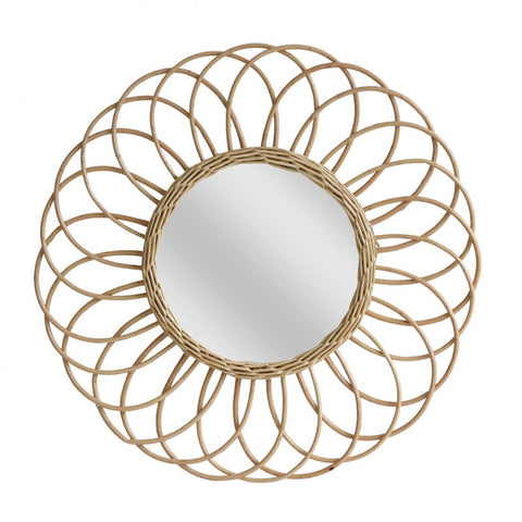 MIRROR | round willow-rattan framed