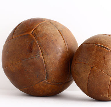 Vintage French Leather Medicine Ball - Antique Gym Decor