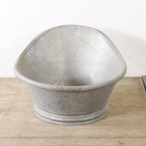 Vintage French Galvanised Hip Bath- Slipper Bath