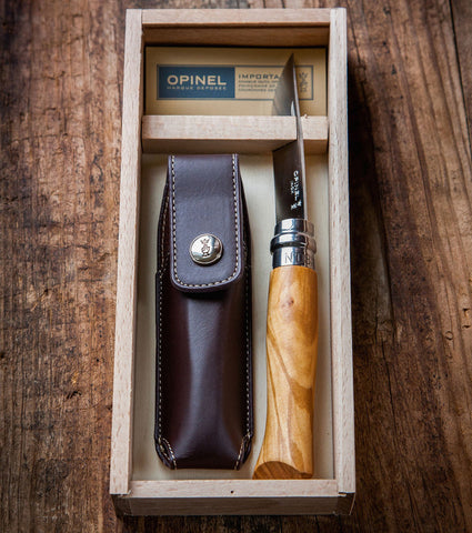 Opinel No. 8 folding knife with Olive Wood handle and sheath