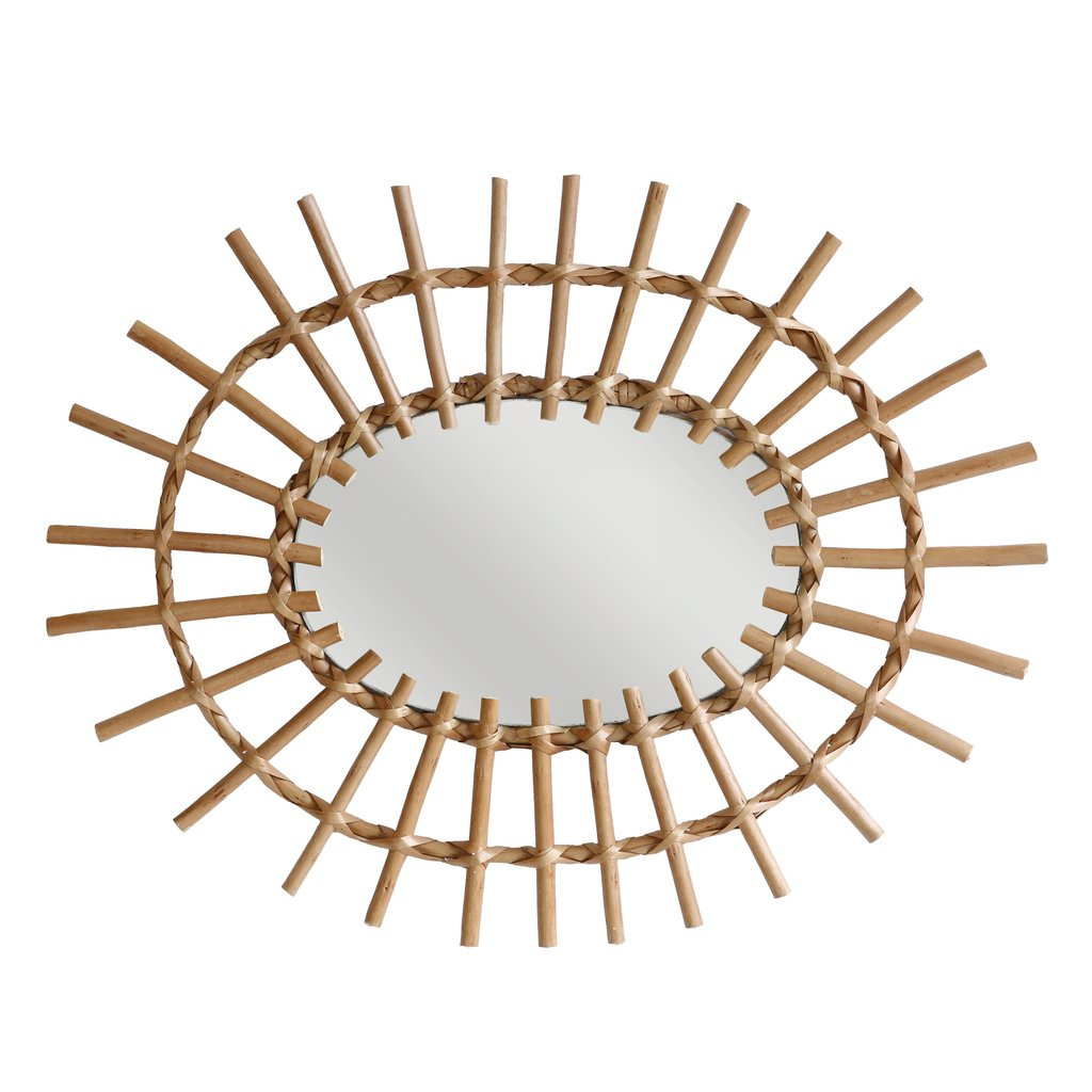 MIRROR | oval willow-rattan framed