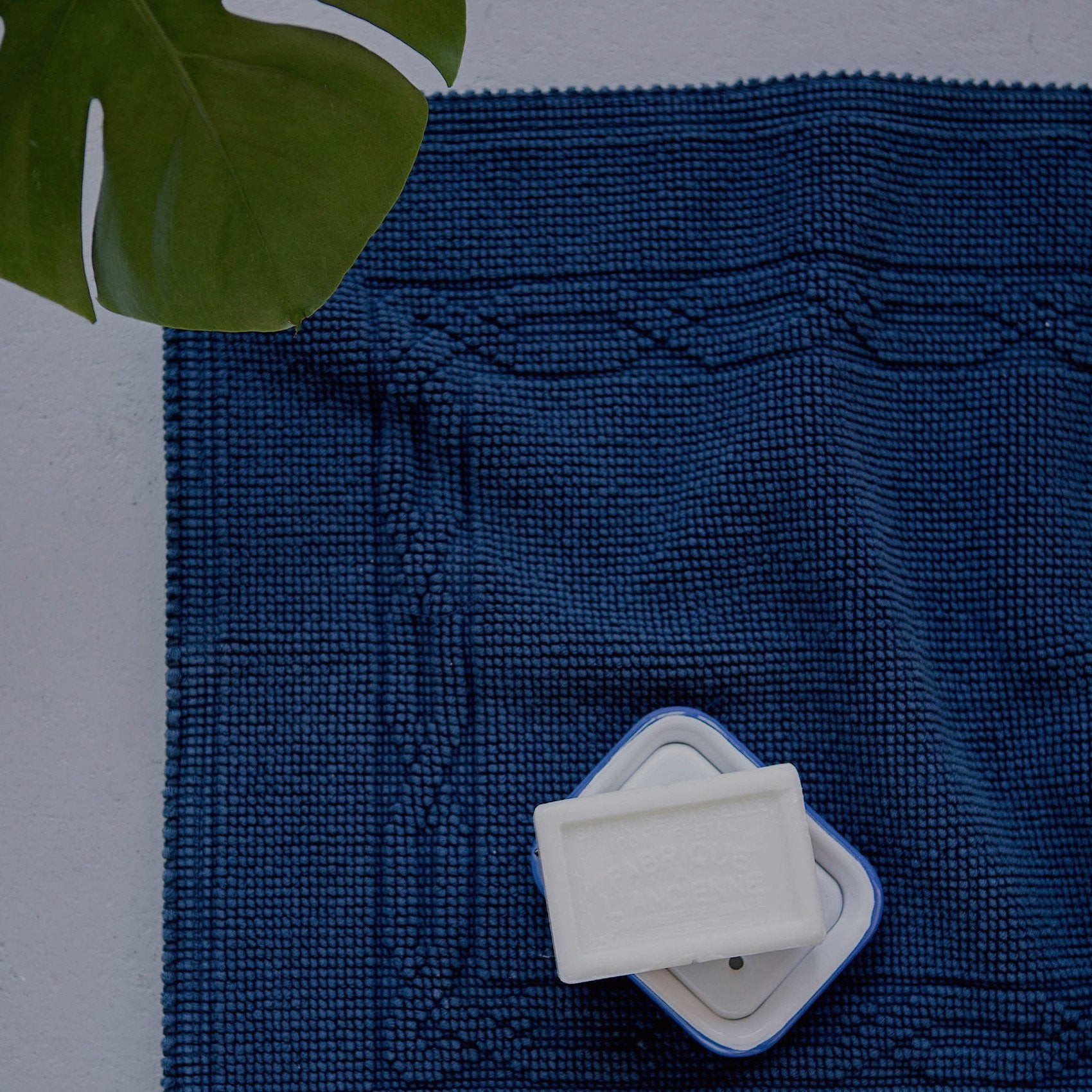 Scout Bath Mat in Navy Cotton Made in Portugal