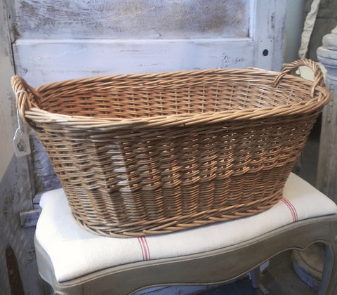 French Cane Laundry Basket- Oval