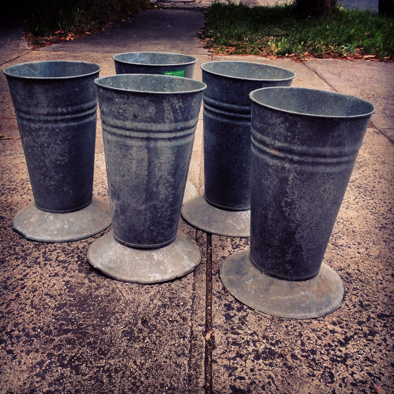 Vintage French Zinc Florist buckets