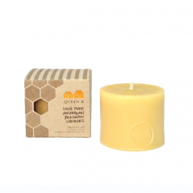 Queen B Solid Beeswax Squat Pillar Candle