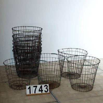 Round Wire Basket- Vintage Industrial Wire Basket