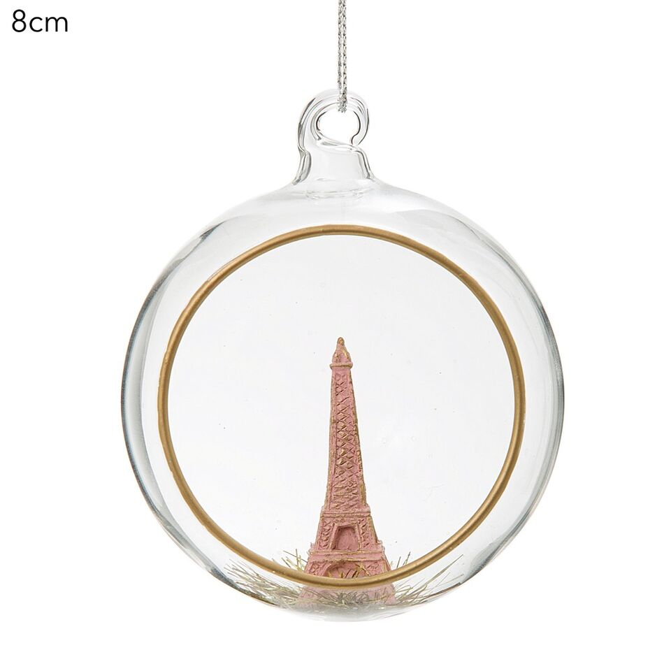 Hanging Glass Eiffel Tower Bauble