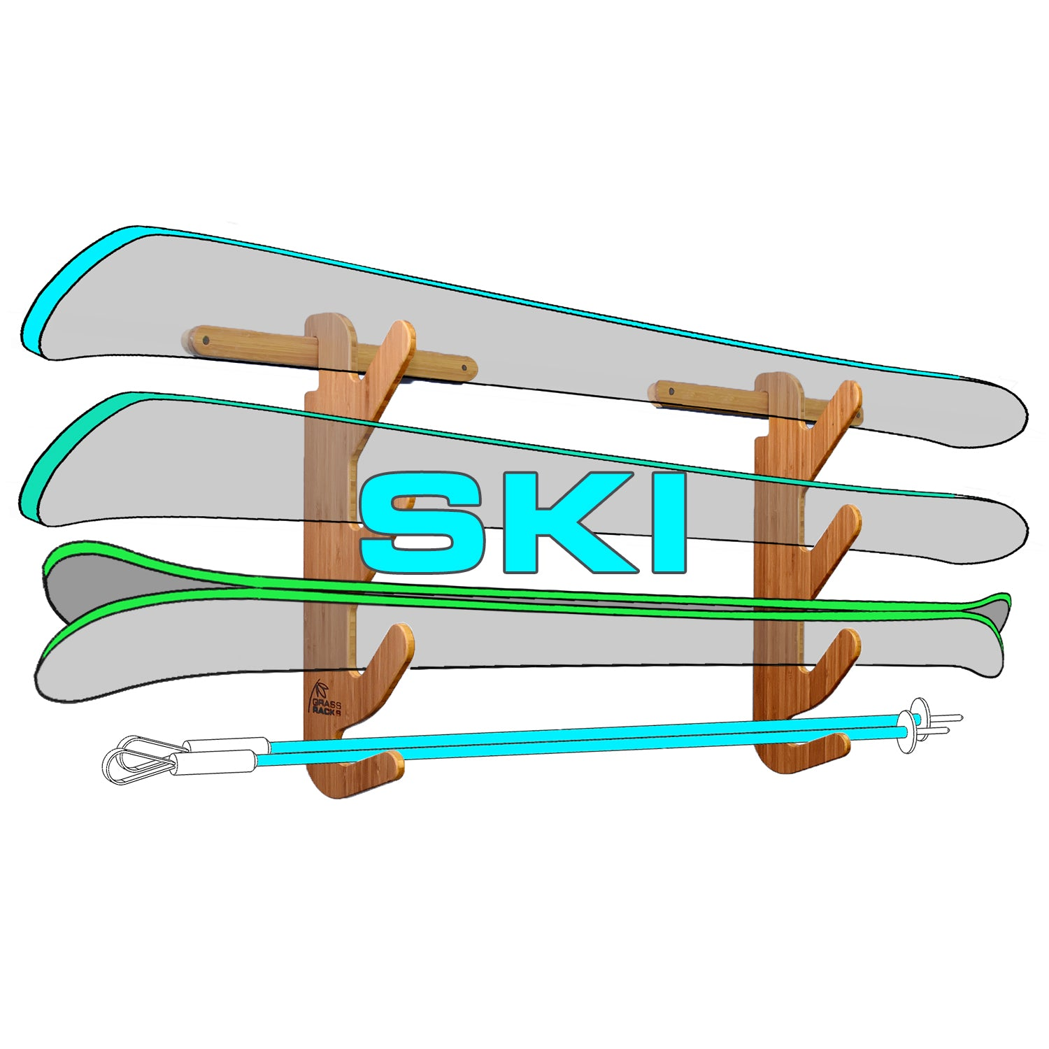 Ski Rack - Vertical & Wall-Mounted