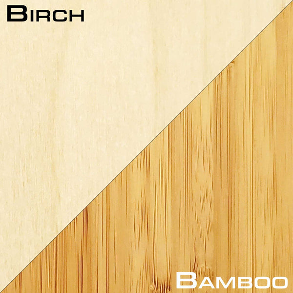 Birch and Bamboo Grain Comparison - Grassracks Snowboard Racks